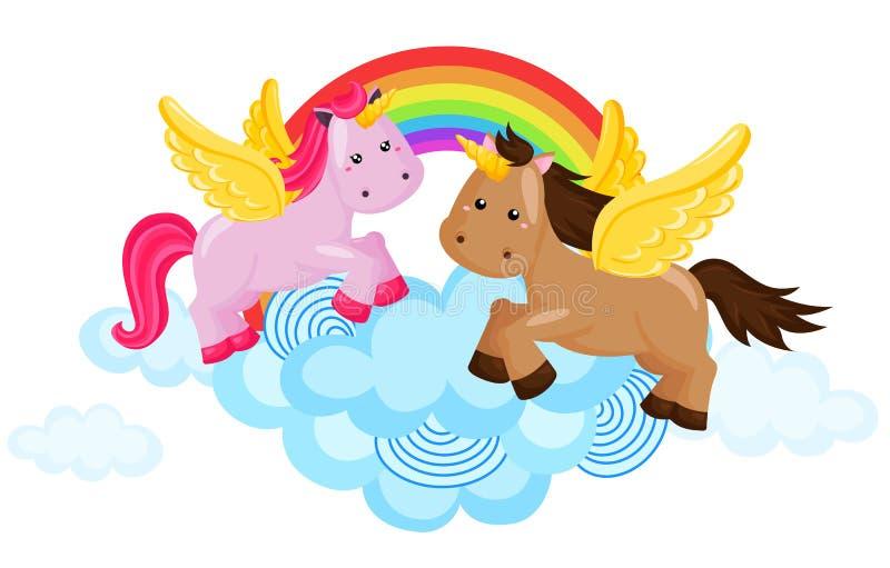 Rainbow unicorn royalty free illustration