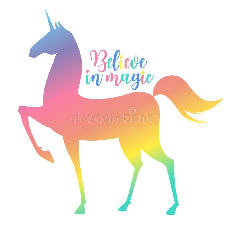 Rainbow Unicorn vector illustration for children design. Isolated. Cute fantasy animal. Typography design. EPS 10 stock illustration