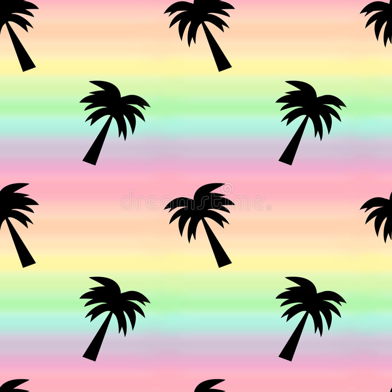 Rainbow watercolor background seamless pattern illustration with palm tree royalty free illustration