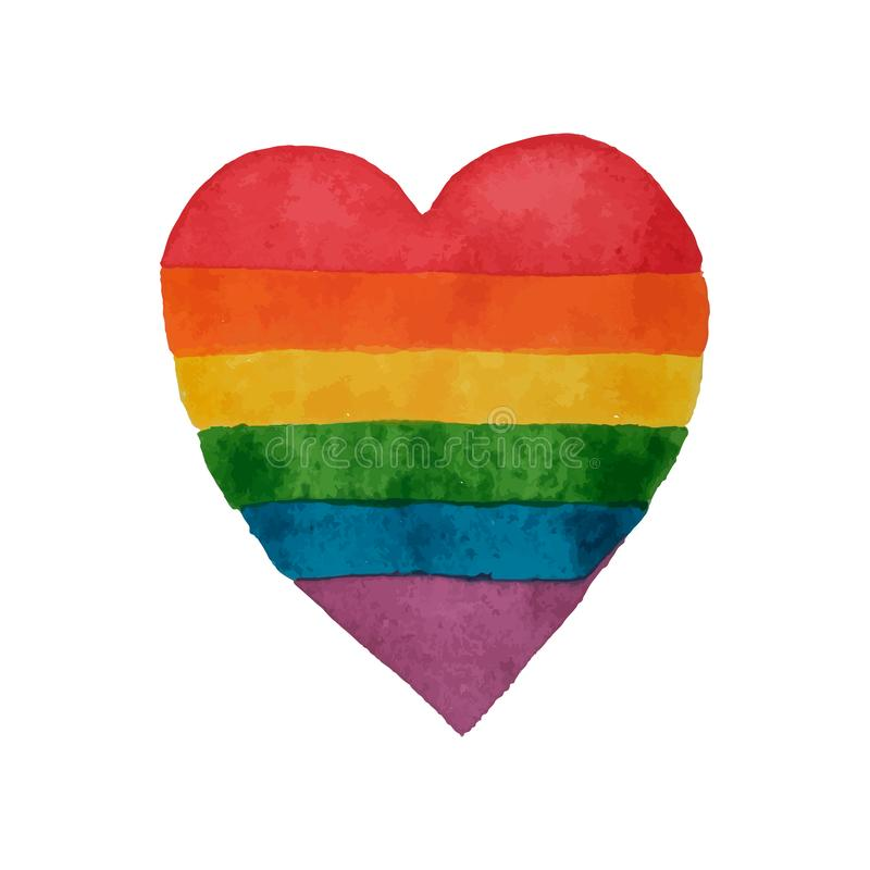 Rainbow watercolor heart. LGBT heart shape. Hand painted rainbow. Tolerance day card. Vector illustration stock illustration