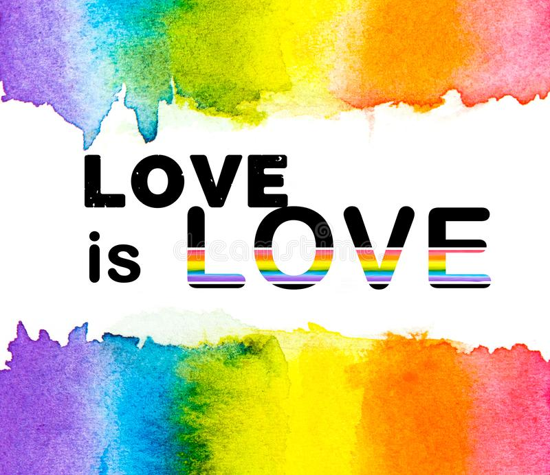 Rainbow watercolor with LOVE is LOVE text on a white background , Gay pride LGBT , against homosexual discrimination. Rainbow watercolor with LOVE is LOVE text royalty free illustration