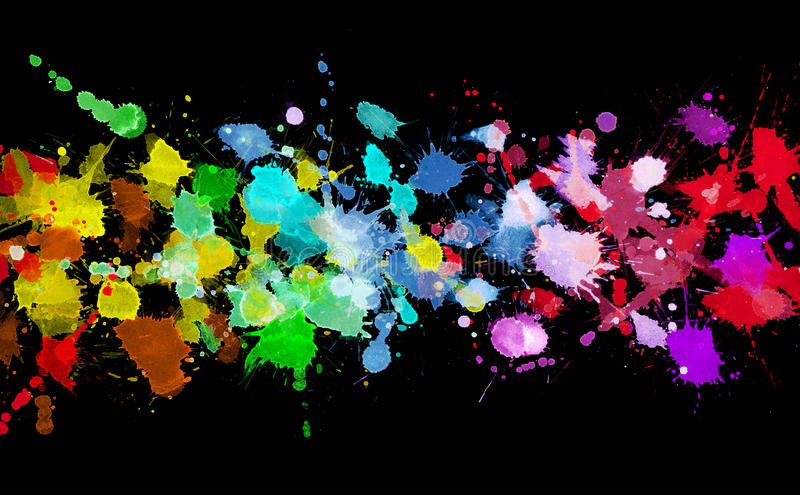 Rainbow of watercolor paint. On black royalty free stock photography