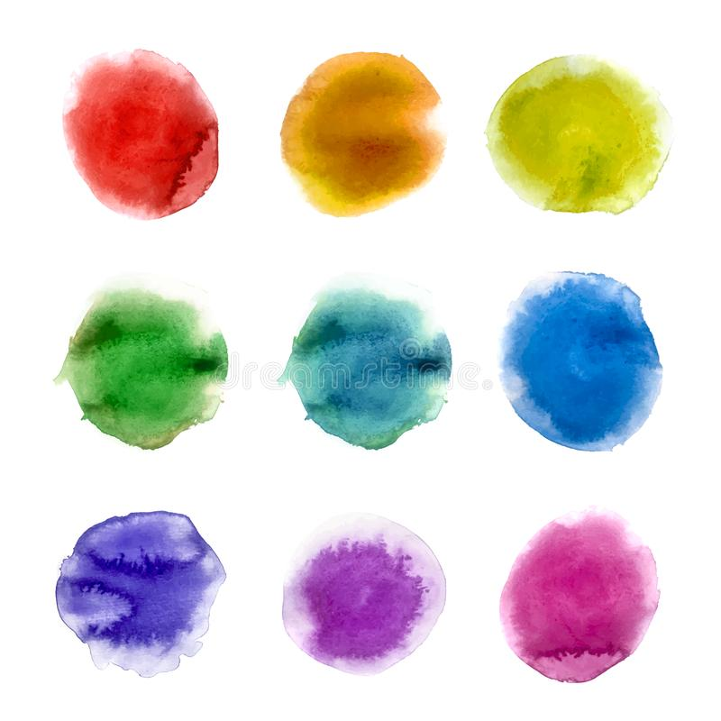 Rainbow watercolor paint stains backgrounds set. Vector Illustration stock illustration
