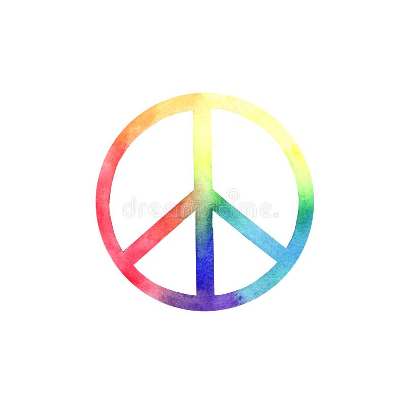 Rainbow Watercolor PEACE logo. Design elements for posters and patterns stock illustration