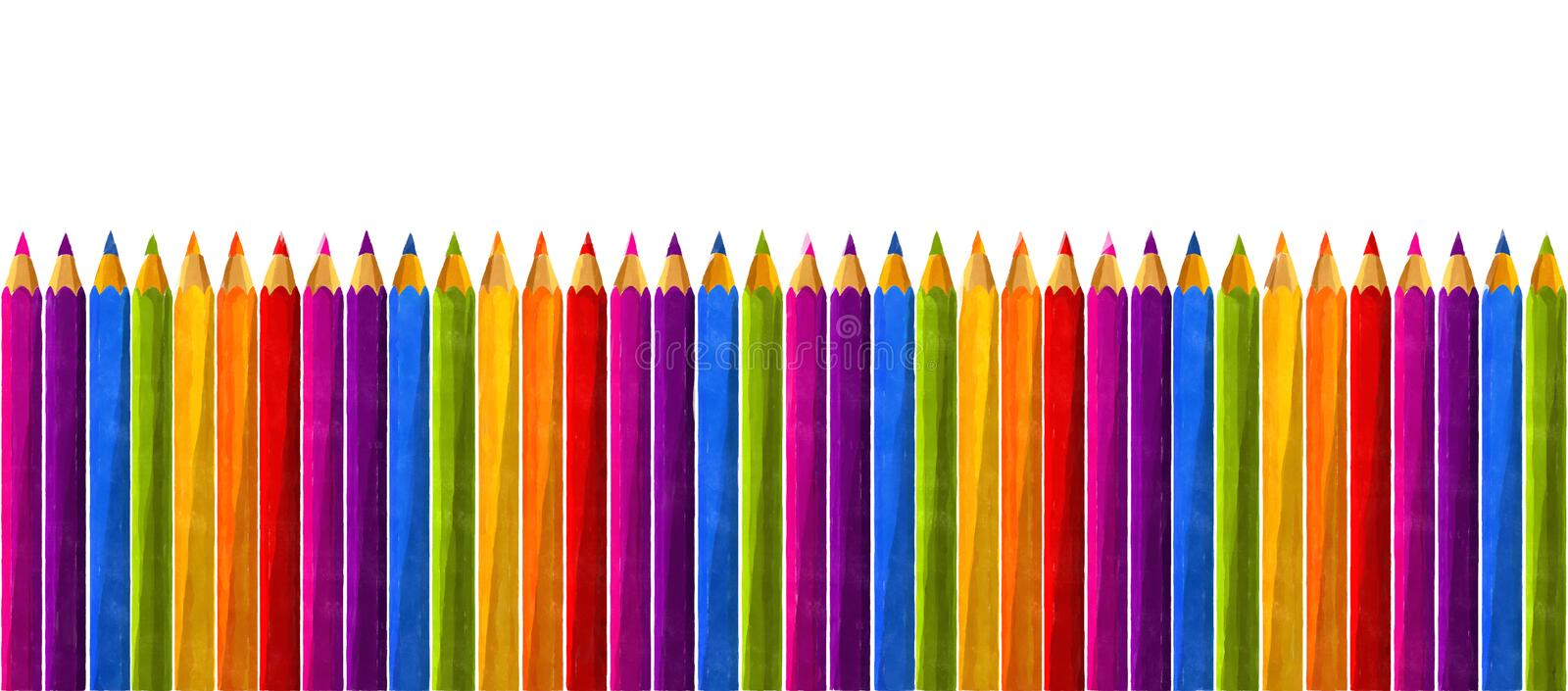 Rainbow watercolor pencils. Watercolor pencils in rainbow colors over white background stock illustration