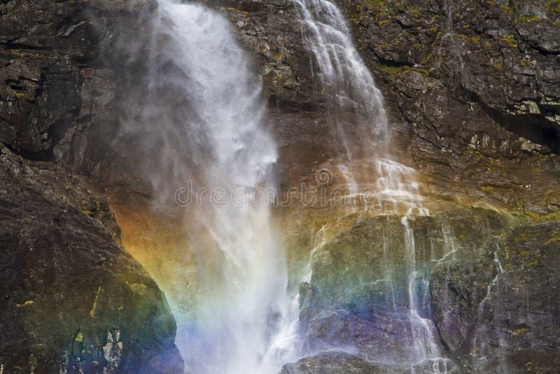 Rainbow At Waterfall Stock Photo