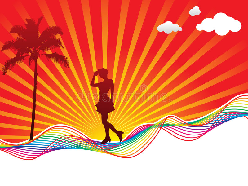 Rainbow wave background with girl vector illustration