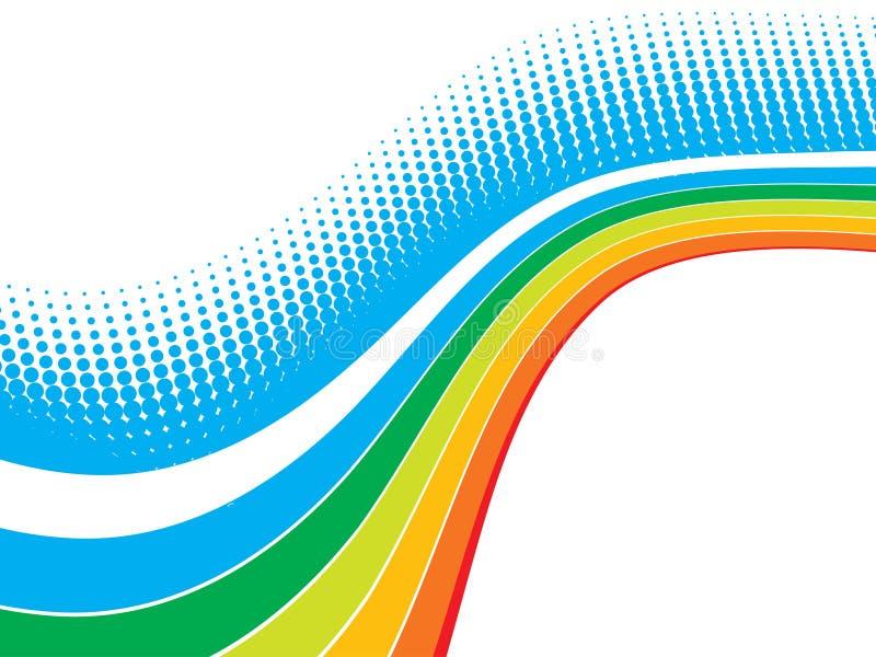 Rainbow wave halftone vector illustration
