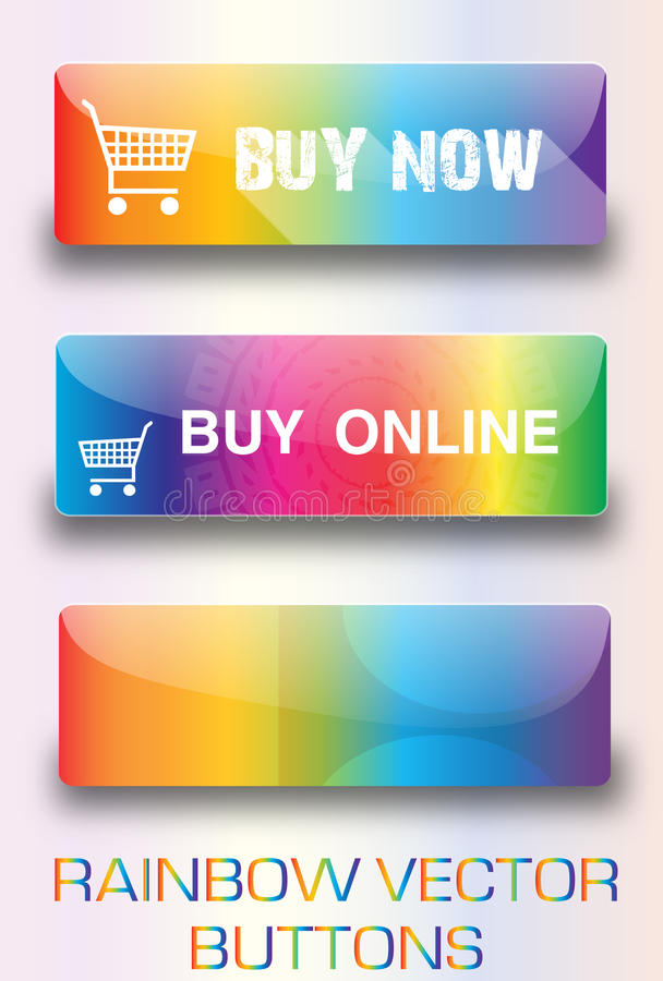 Rainbow web buttons stock images