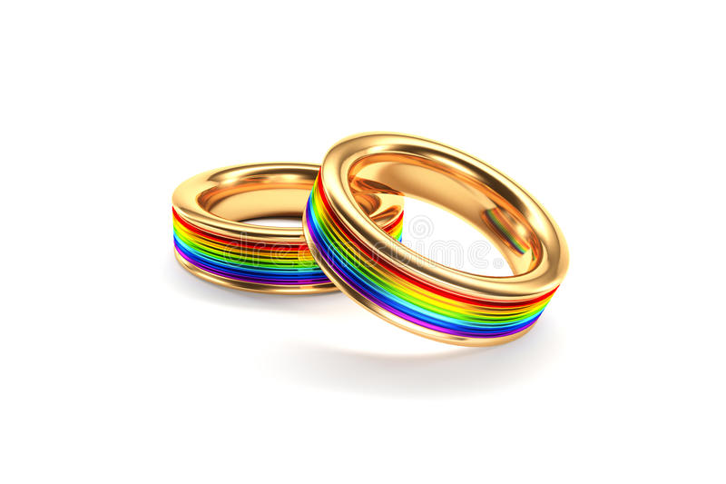 Rainbow wedding rings. 3D rendering of rainbow wedding rings in gold for same sex marriage stock photography