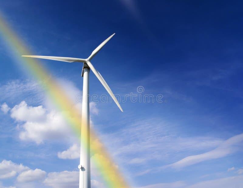 Rainbow windmill stock photo