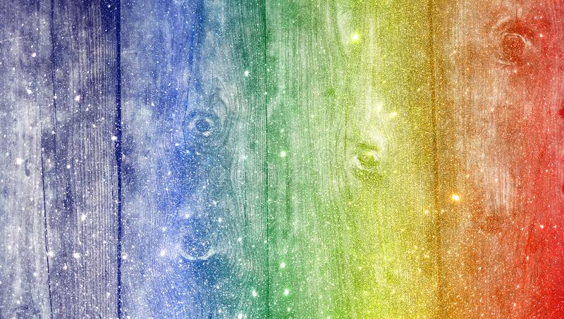Rainbow wood glitter textured background. wallpaper. royalty free stock photography