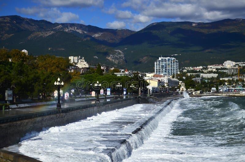 Rainbow in Yalta stock photo