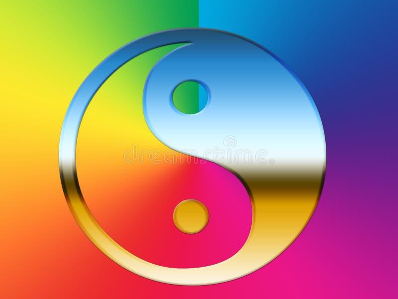 Rainbow Yin Yang illustrazione vettoriale