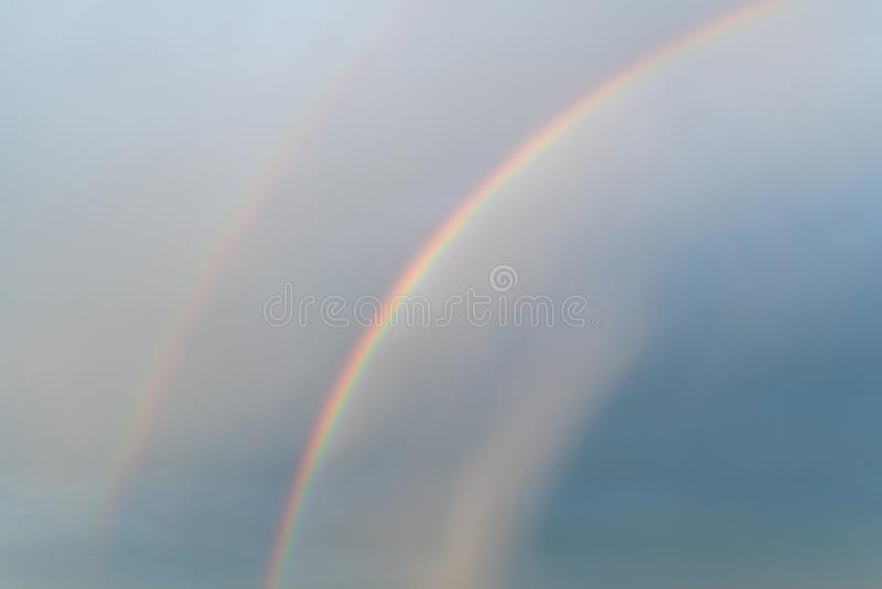 Rainbows in the blue sky stock photo