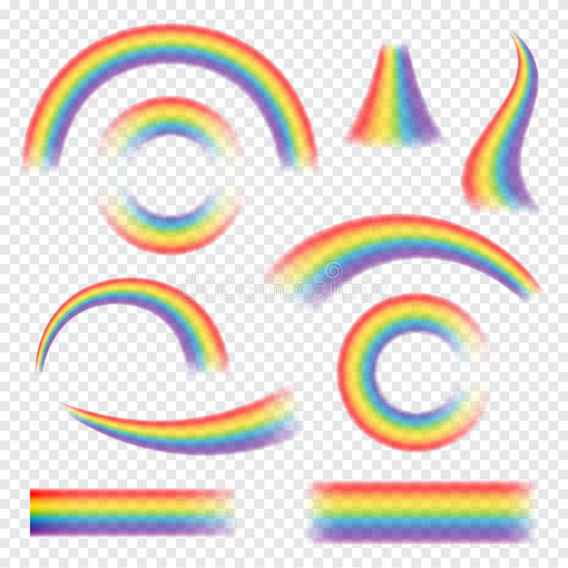 Rainbows in different shape. Realistic set on transparent background. Isolated vector illustration. royalty free illustration
