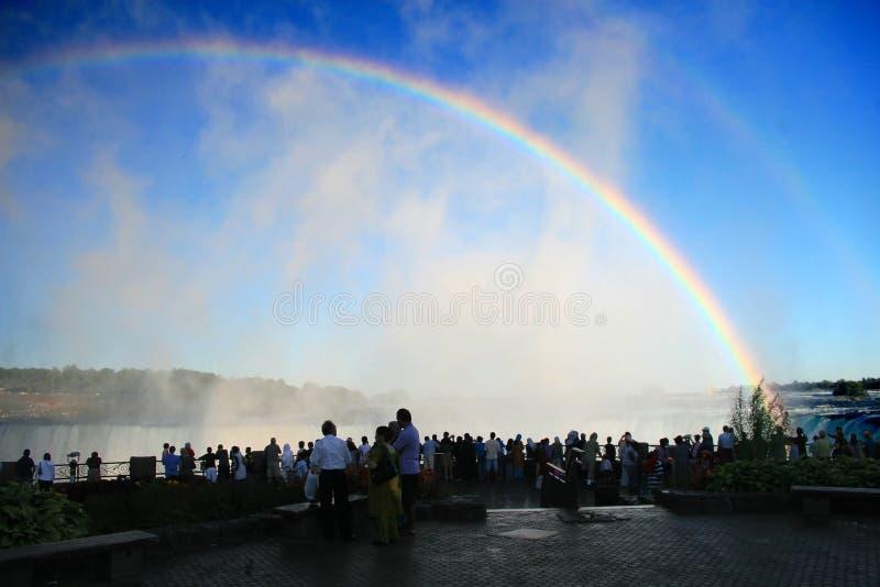 The Rainbows of Niagara Falls. The mists of Niagara Falls displaying both primary and secondary rainbows royalty free stock photo