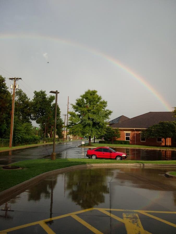 Rainbows rain stock image
