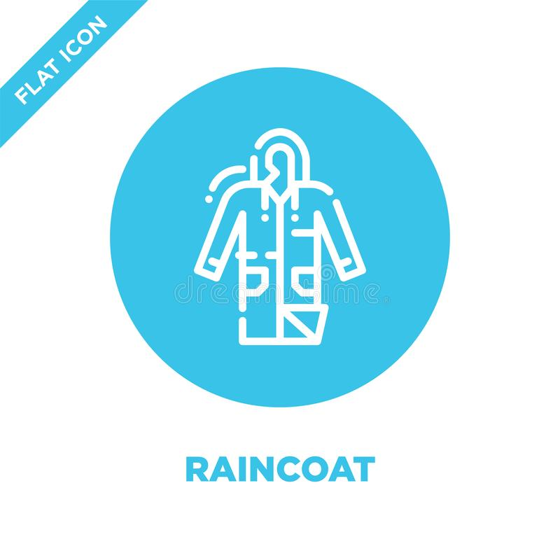 raincoat icon vector from camping collection. Thin line raincoat outline icon vector illustration. Linear symbol for use on web vector illustration