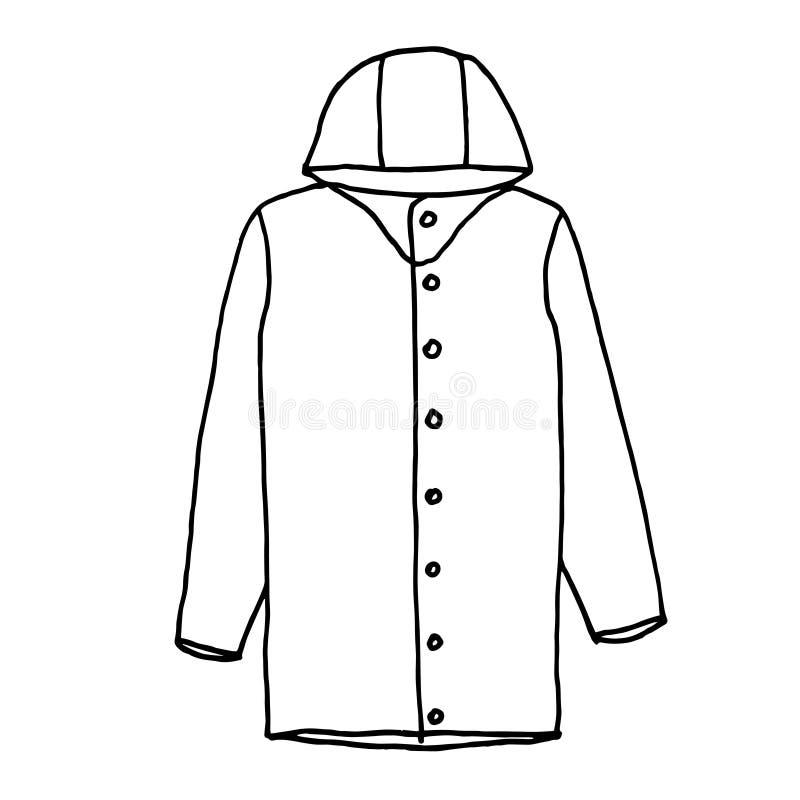 raincoat Schizzo monocromatico, disegno della mano Profilo nero su fondo bianco Illustrazione di vettore illustrazione di stock