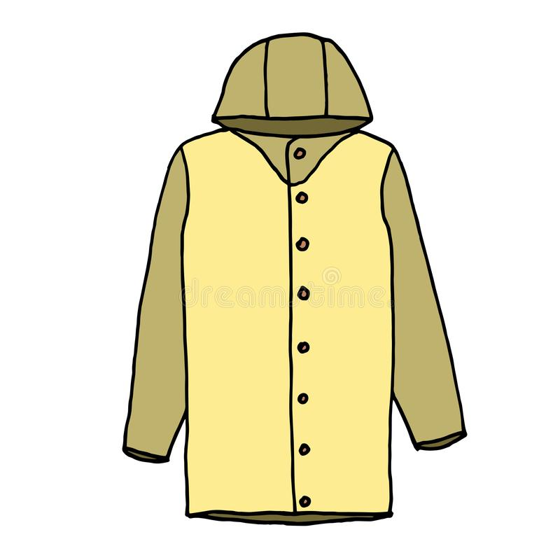 Raincoat sketch, hand drawing. Outline with different colors on white background. Vector illustration royalty free illustration