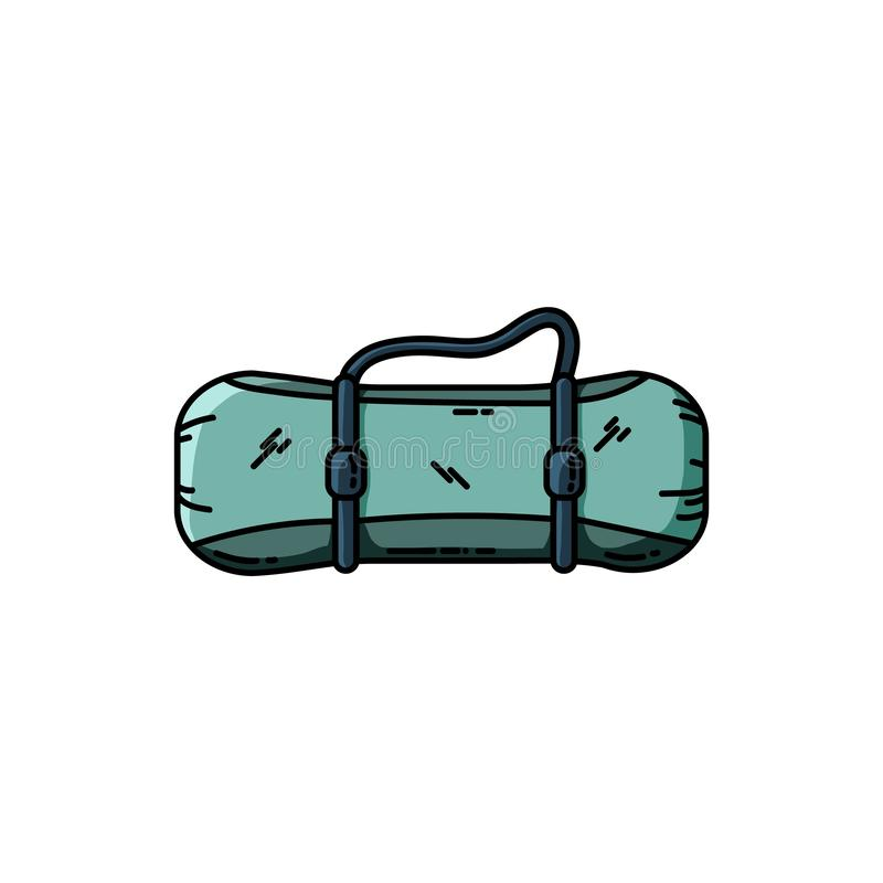 Raincoat-tent rolled up into a roll isolated on white background. Camping mat. Flat design vector illustration royalty free illustration