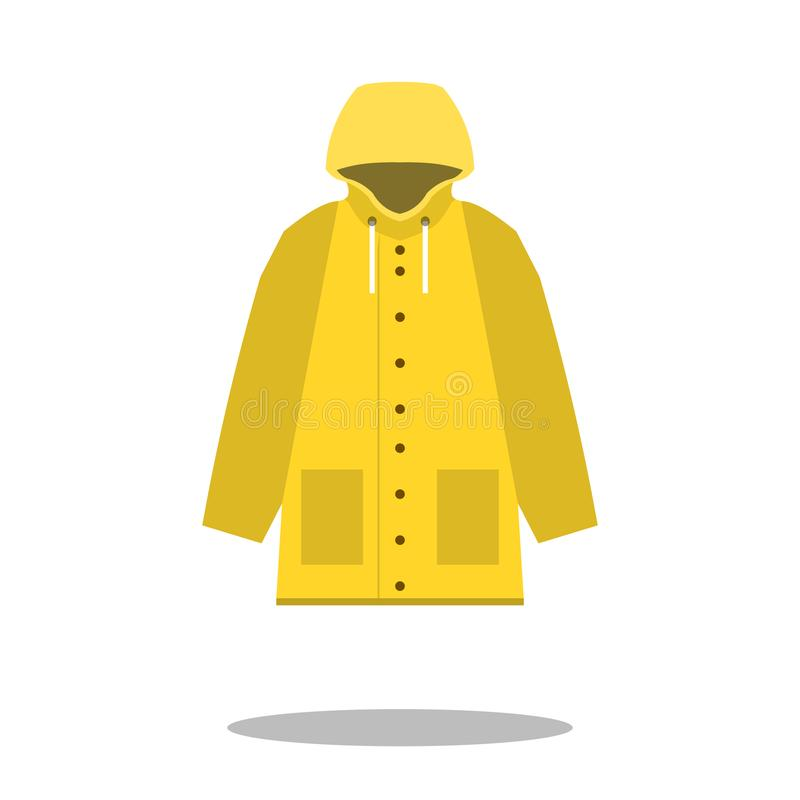 Raincoat yellow icon, Flat design of rain coat clothing with round shadow, vector illustration. EPS vector illustration