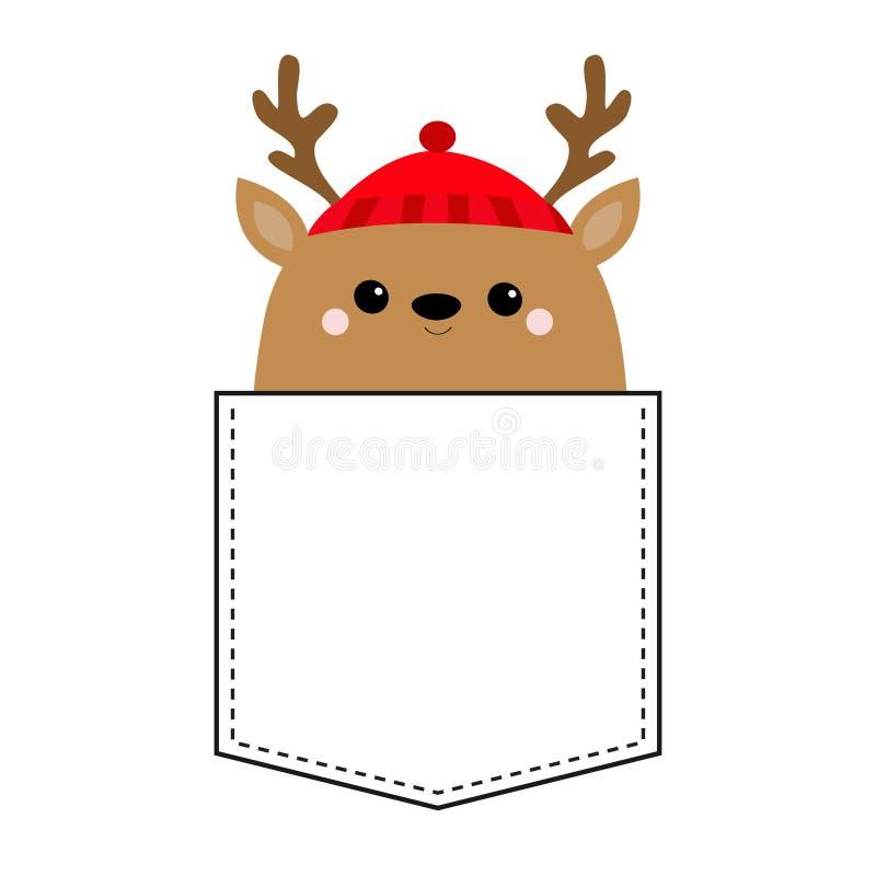 Raindeer-Rotwild-Hauptgesicht T-Shirt Tasche Roter Hut, Nase, Hörner Frohe Weihnachten Glückliches neues Jahr Netter Karikatur ka lizenzfreie abbildung