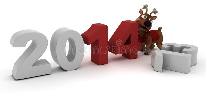 Raindeer som kommer med i det nya året royaltyfri illustrationer