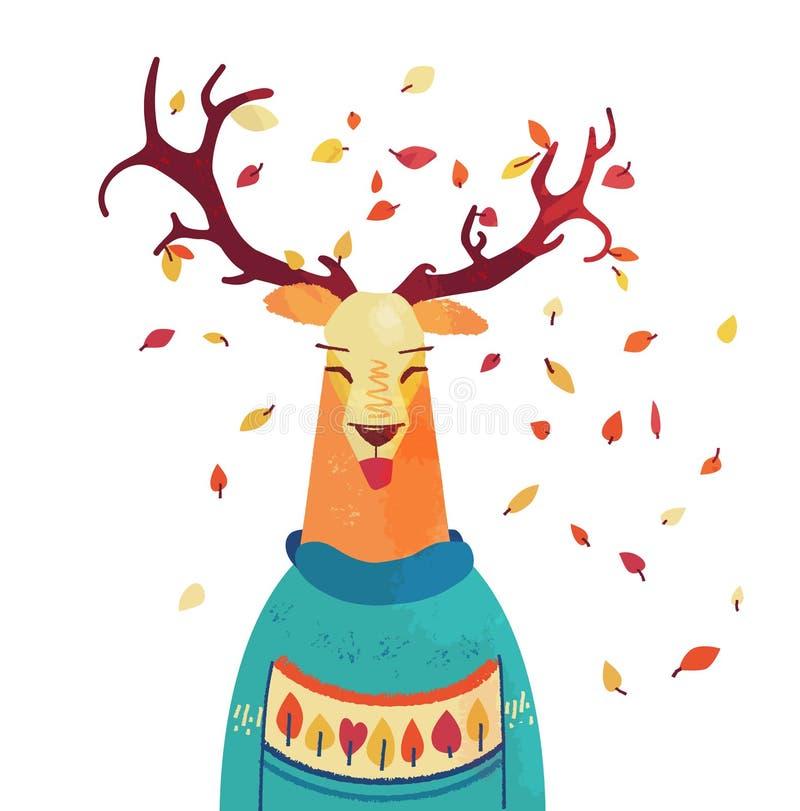 Raindeer sveglio di autunno in maglione Carattere di caduta del fumetto illustrazione di stock