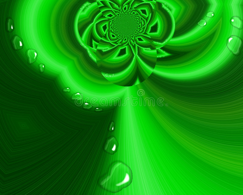 Raindrops In The Garden. Unique surreal abstract fractal of a green flower and leaves with shiny clear raindrops vector illustration