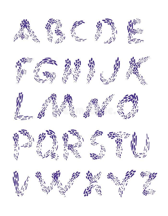 raindrops L'horaire de l'alphabet set Police tirée par la main pour votre conception illustration stock