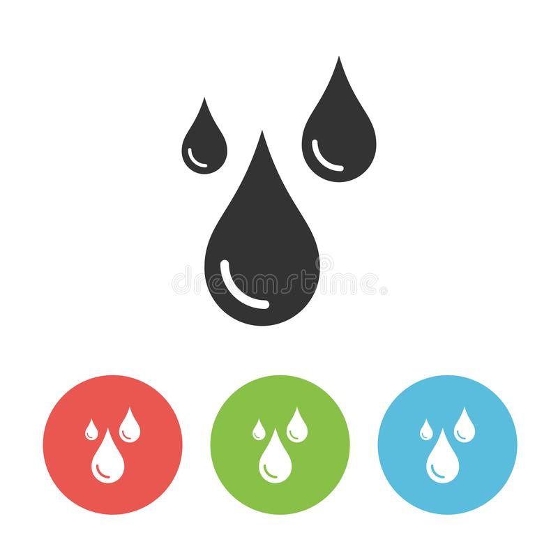 Raindrops vector one flat solid icon isolated on white background royalty free illustration
