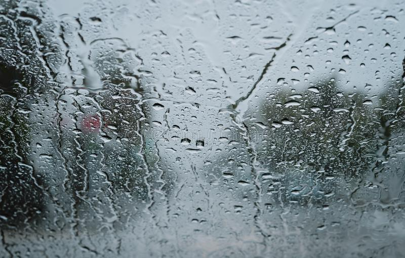 Raindrops on a windshield royalty free stock image