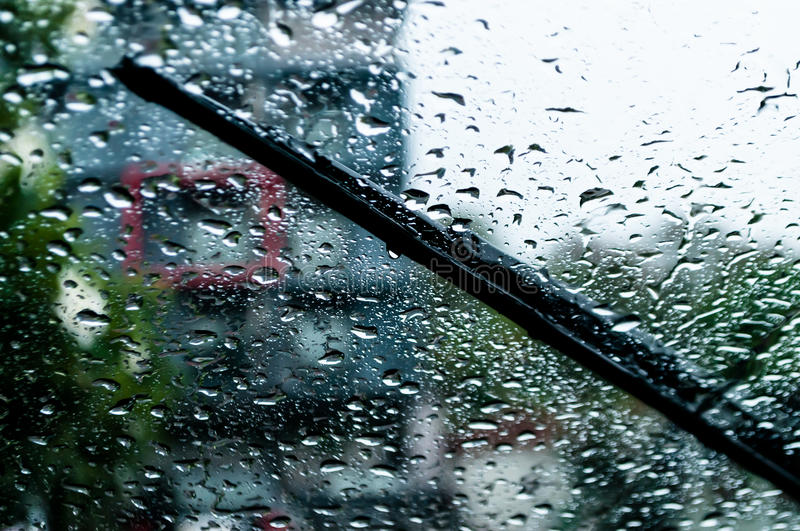 Raindrops and wiper stock images