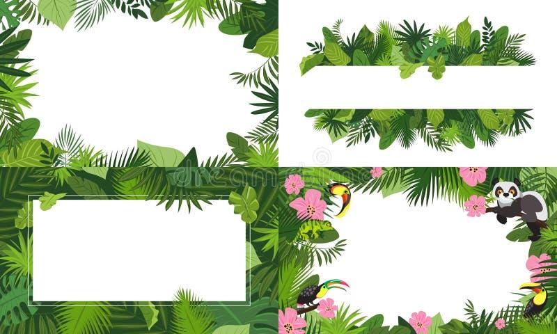 Rainforest banner set, cartoon style royalty free illustration