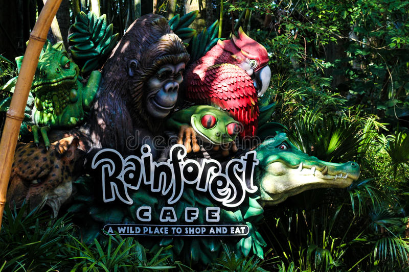 Rainforest Cafe, Animal Kingdom, Orlando, FL. stock photo