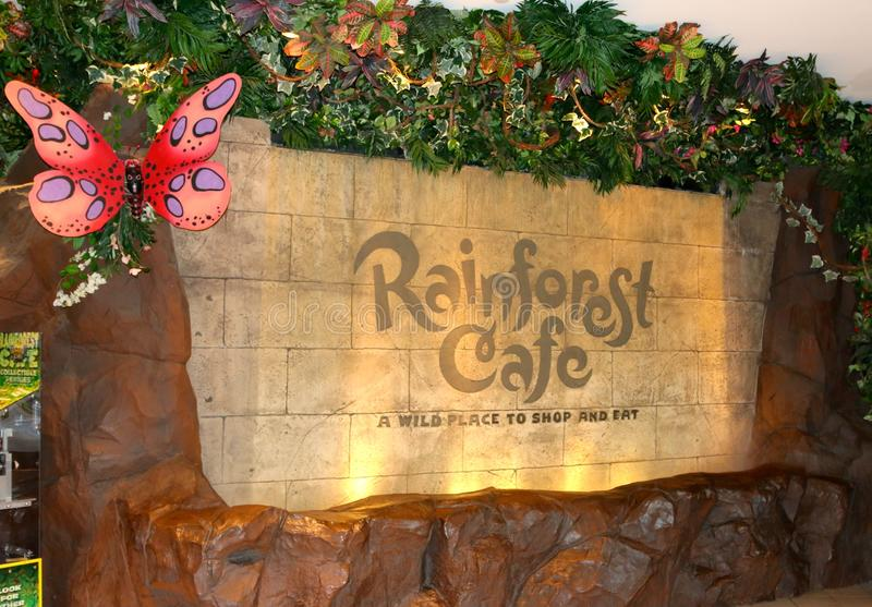 The Rainforest Cafe Sign, Nashville Tennessee. Rainforest Cafe is a themed restaurant chain owned by Landry's, Inc. of Houston, Texas. It was founded by stock images