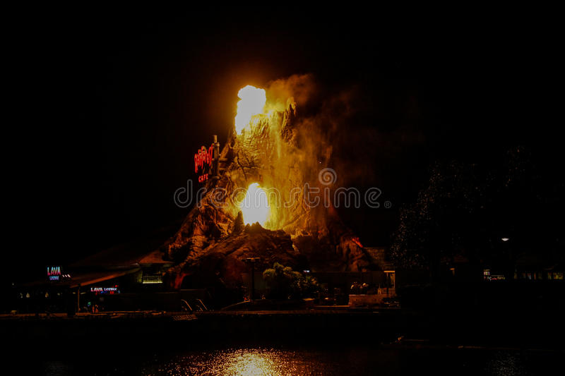 Rainforest Cafe' Volcano erupts royalty free stock images