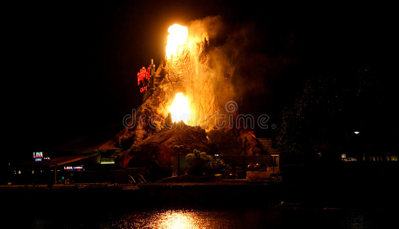Rainforest Cafe Volcano erupts at Downtown Disney. stock images