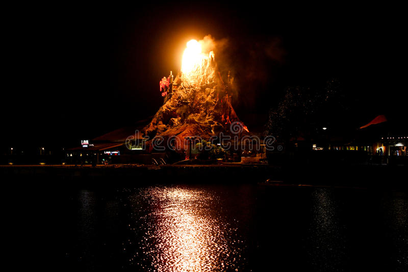 Rainforest Cafe Volcano erupts at Downtown Disney. Rainforest Cafe Volcano erupts at Downtown Disney in Orlando, Florida stock photo
