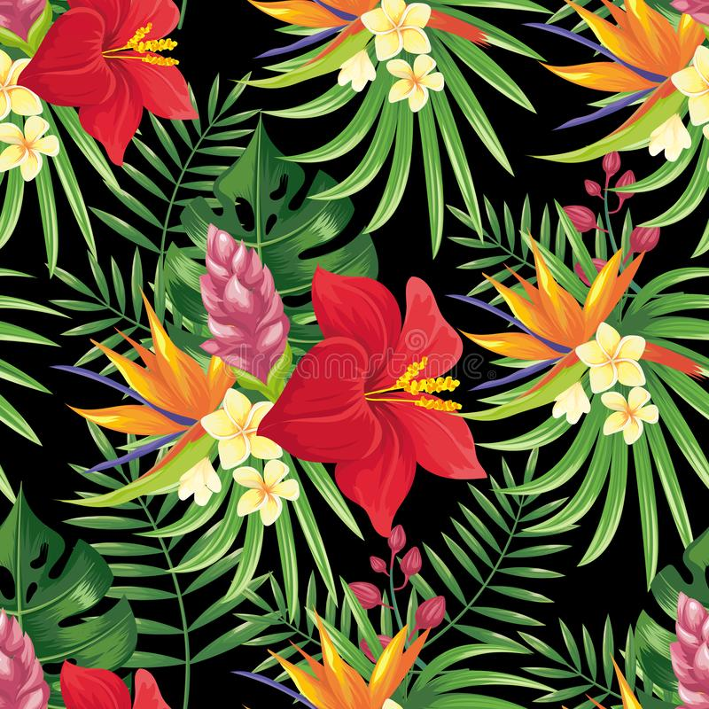 Rainforest flowers seamless pattern. Tropical flower leaves, tropic jungle plants and exotic floral branch vector royalty free illustration