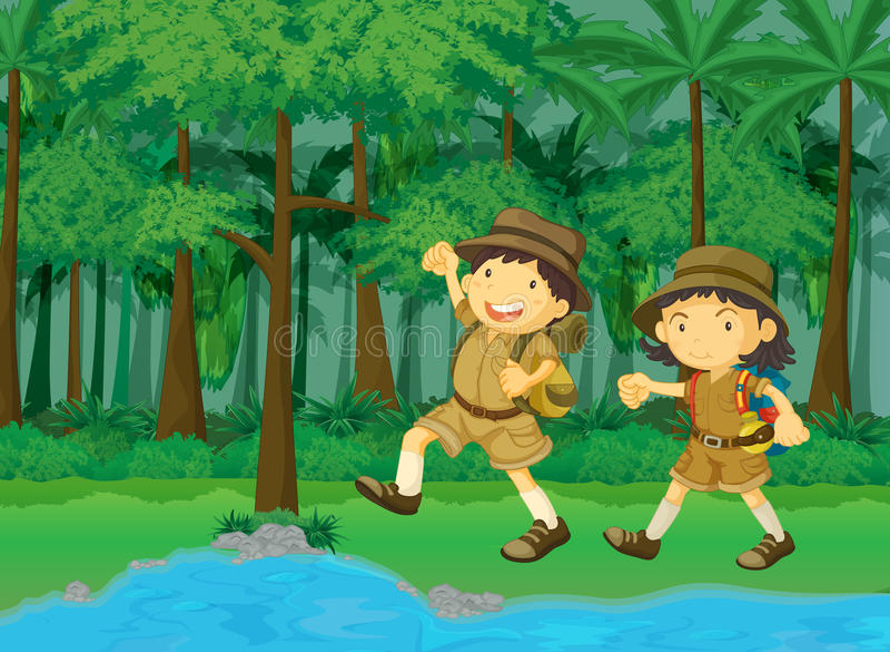 Rainforest scene stock illustration