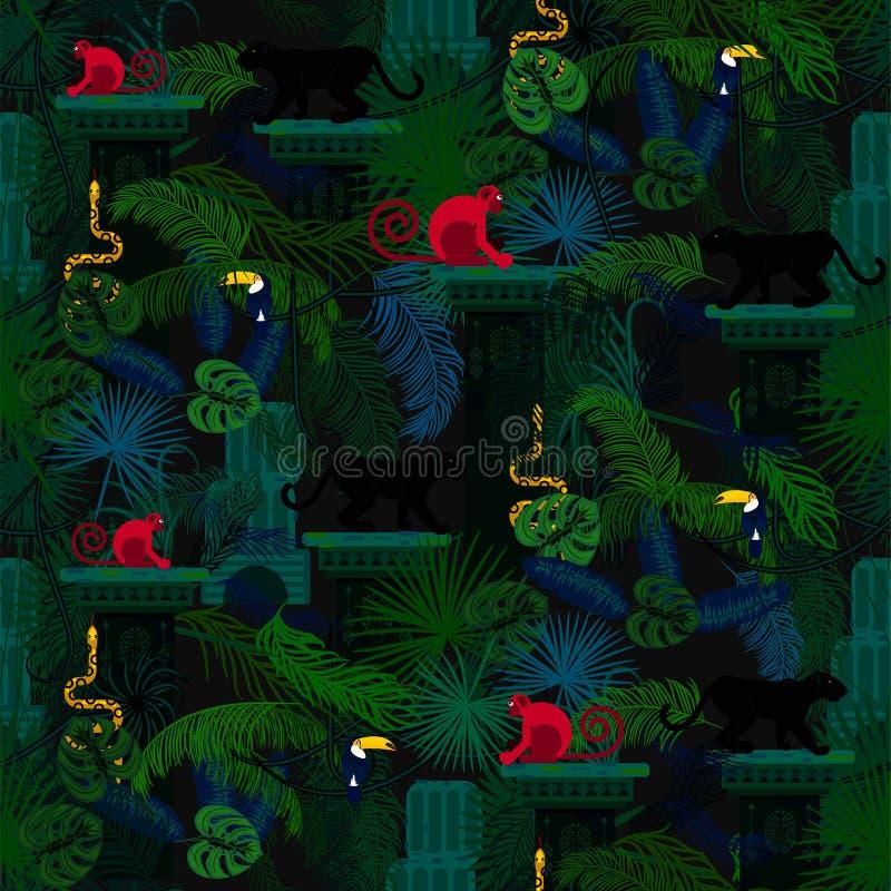 Rainforest wild animals and plants seamless pattern. stock illustration