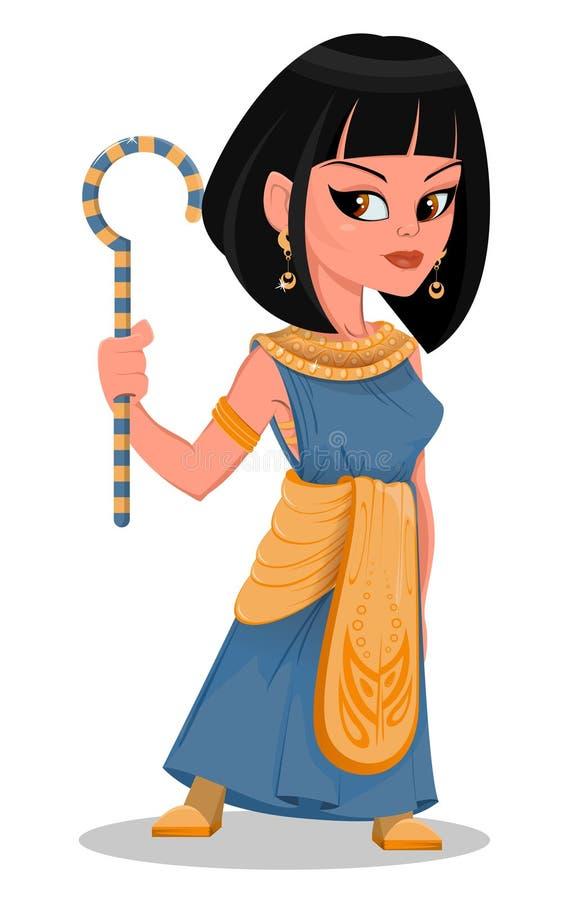 Rainha bonita de Egito dos desenhos animados de Cleopatra ilustração royalty free