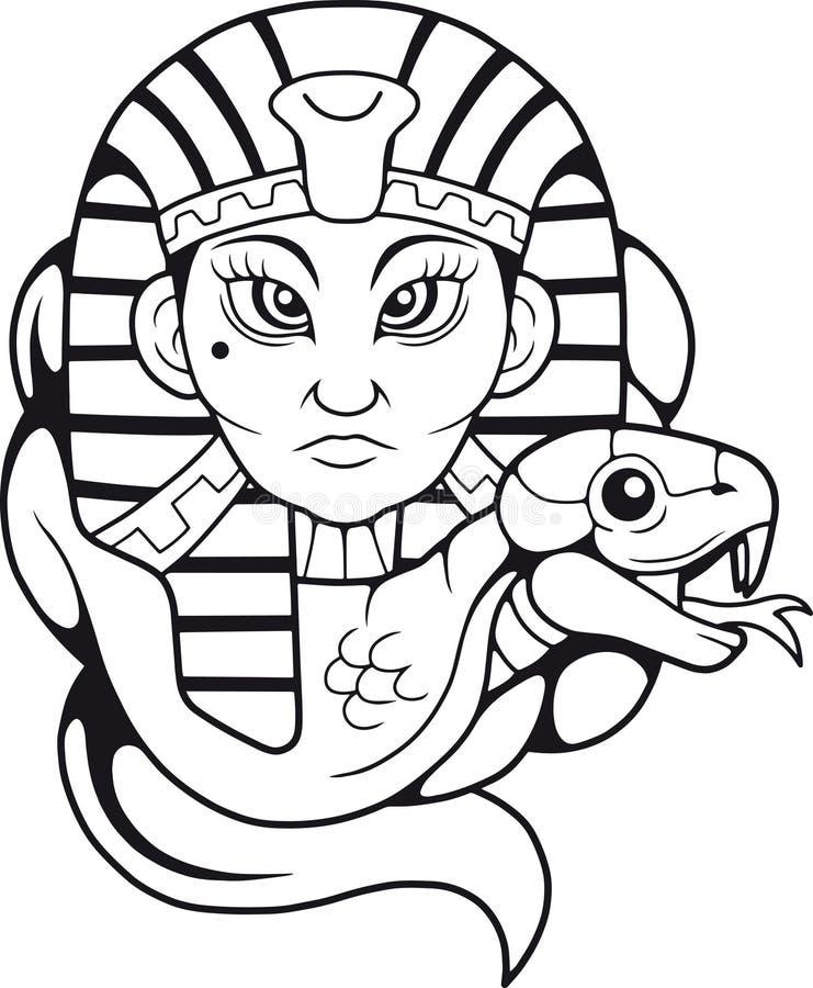 Rainha Cleopatra e sua cobra ilustração stock