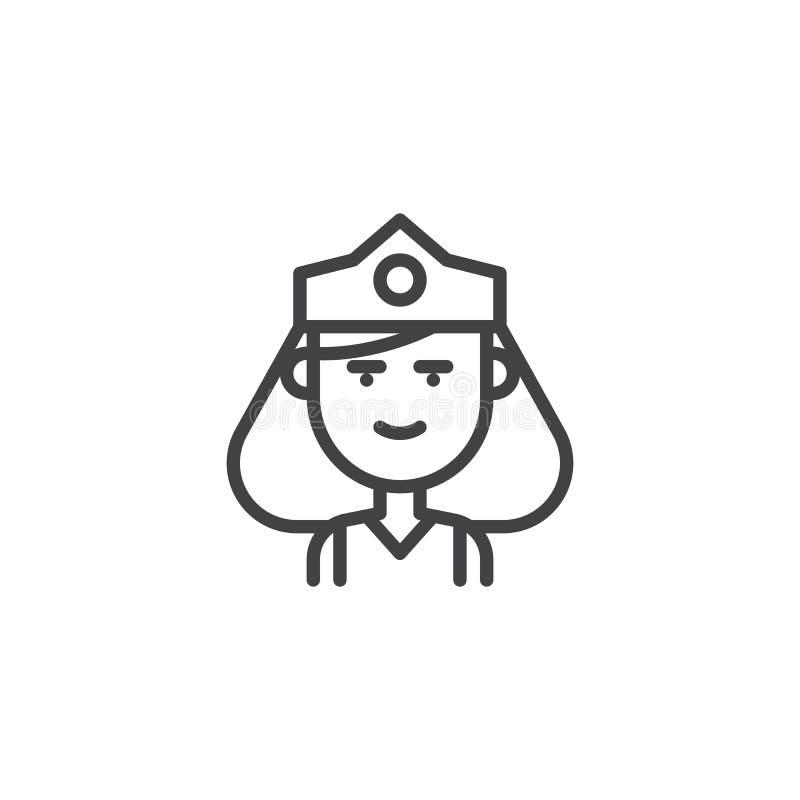 Rainha com ícone do esboço da coroa ilustração stock