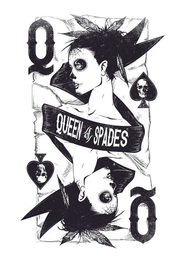 Rainha das pás ilustração royalty free