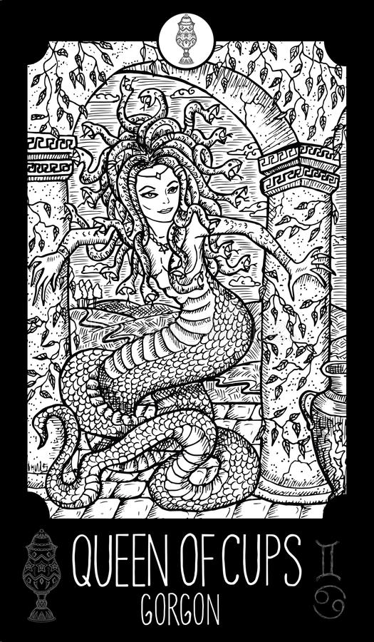 Rainha dos copos gorgon ilustração stock