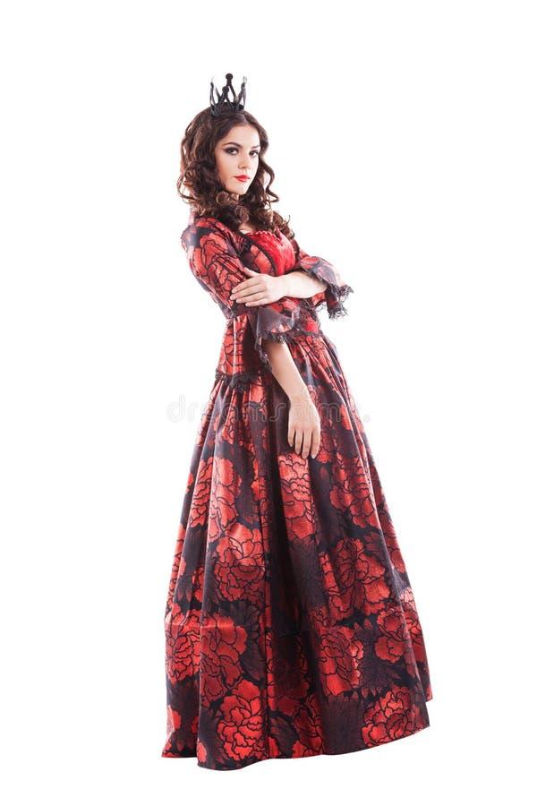Rainha dos corações Jovem senhora criativa no preto e fotografia de stock